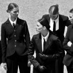 Photography Leonardo V, from left Total Look: Valentino - Max & Co - Marella - Bottega Veneta & Jones New York, Black Ties by Valentino Leather, Gloves by Shaneen Huxham
