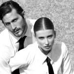 Photography Leonardo V, both are wearing Dress Shirt by Ferragamo, Black Ties by Valentino