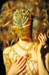Golden Dragon  Swarovski Mask handmade by Leonardo V; Necklace with Diamond by Giamaria Buccellati; Golden Chain by Leonardo V; Photography Leonardo V