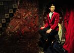 Velvet red jacket & pants by Gianluca Saitto, dress shirt by TOM FORD, shoes by Giuseppe Zanotti Design,Fur by Simonetta Ravizza; Photography Leonardo V