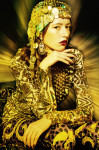 Embroidery golden shirt and Pants by Parosh, accessories handmade Fenix archive; Photography Leonardo V